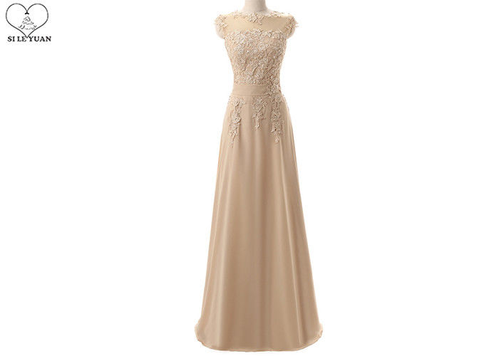 Champagne Lace Bridesmaid Dresses / Beaded Chiffon Plus Size A Line Ball Gowns