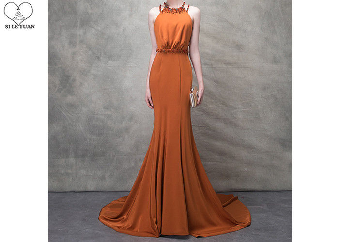 Orange Mermaid Ladies Party Wear Gown Long Tail Blue Beads Hanging Neck