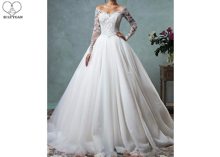 Fashion Long Sleeve Lace Wedding Dress Off Shoulder Backless Organza Sweep Train