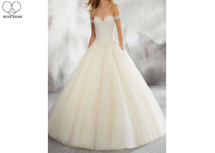 Sexy Ivory Ball Gown Wedding Dress Off Shoulder Short Sleeve Heavy Beading