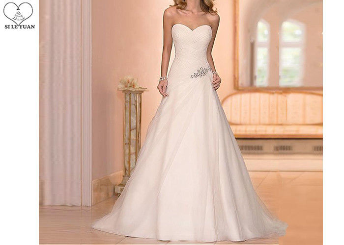 White Strapless Chiffon Mother of The Bride Dresses Beading Bandage Sweep Train
