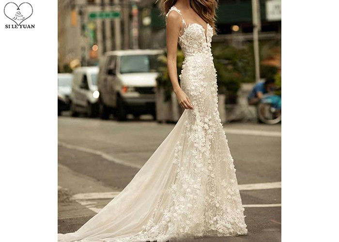 Mermaid Long Tail Prom Dresses , Floral Lace Wedding Gown Open Back Deep V Neck