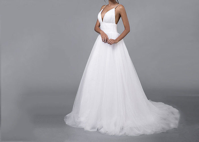 Tulle Simple A Line Wedding Dresses Straps Deep V Neck Backless Pleating Zipper