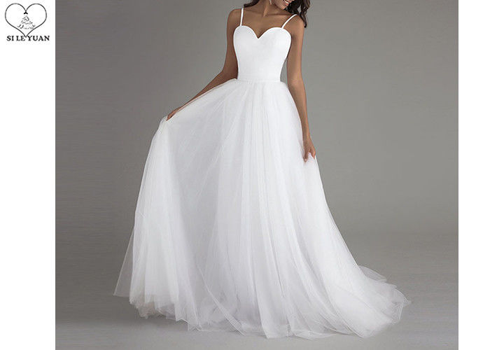 Sling White A Line Wedding Gowns Heart Shaped Satin Chest Back Zipper