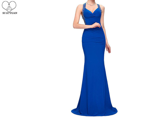 Sweetheart Royal Blue Mermaid Prom Dresses Sleeveless Back Hollow Special Pleats